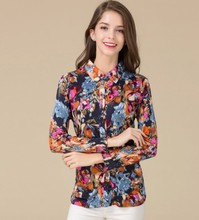 Real silk knit shirt big yards loose middle-aged women's clothing 100% mulberry silk flower long sleeve blouse 2