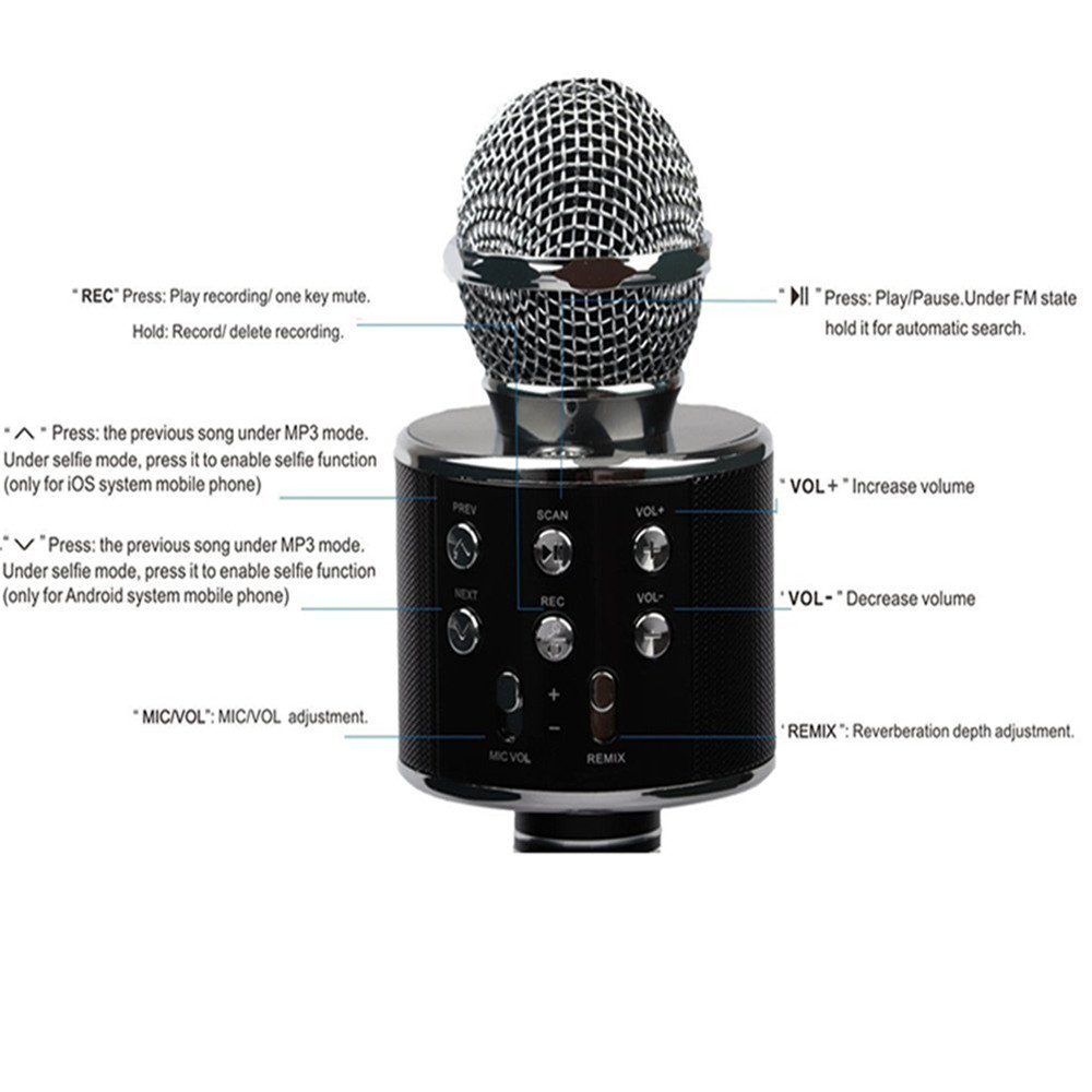 Wireless Bluetooth Microphone WS858 Professional Condenser Karaoke Mic Stand Radio Mikrofon Studio Recording Studio WS 858