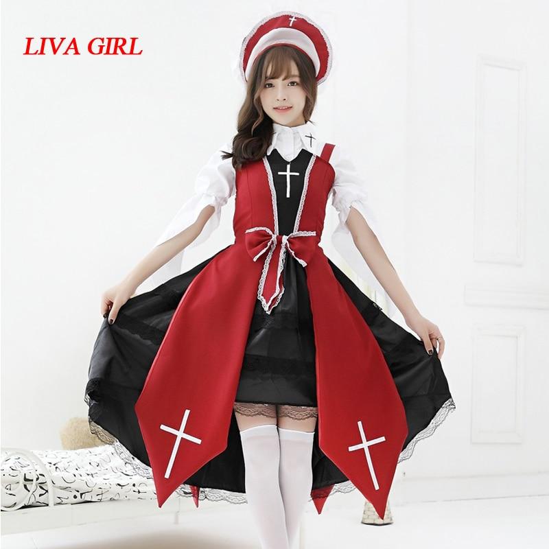 Liva fille croix sorcière Costume Cosplay japonais Anime Lolita JSK robe Halloween gothique Vintage Cos robe
