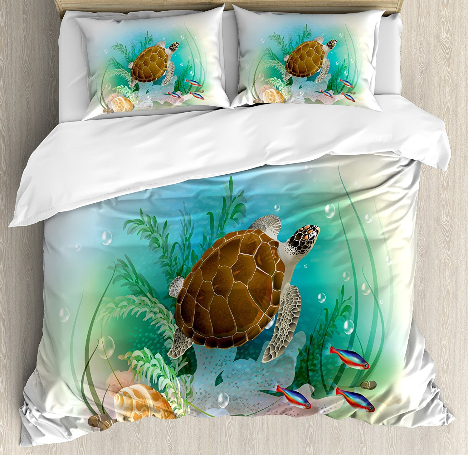 Decor Duvet Cover Set Sea Turtle Swims in the Ocean Tropical Underwater World Aquarium Illustration Print 4 Piece Bedding Set image