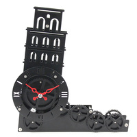 Home Decoration Leaning Tower of Pisa Moving Gear Desk Clock Table Watch Novelty Relogio De Mesa Gifts