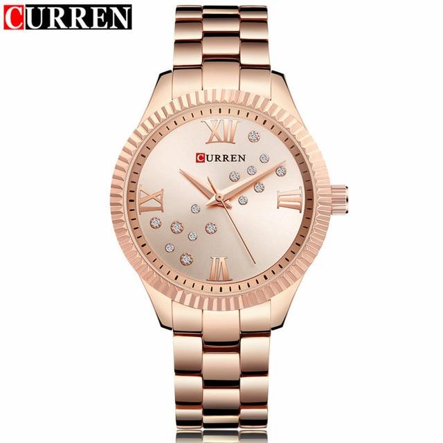 relogio feminino Luxury Brand Women Watches Curren Gold Stainless Steel Crystal