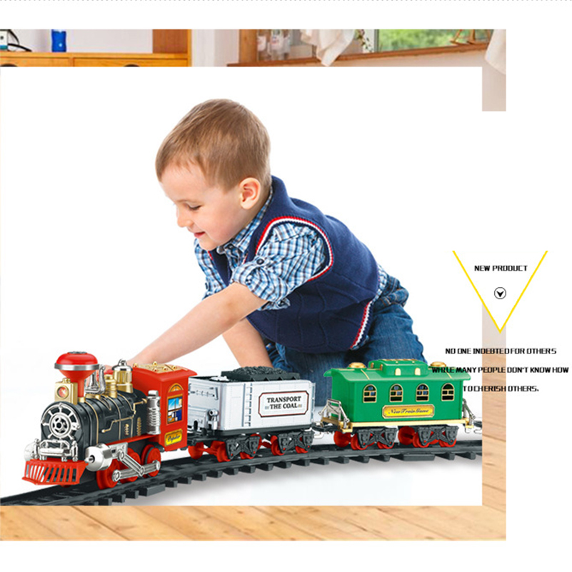 1 Set RC Train Toys Electric Remote Control Classic SteamTrain Model with Rails RC Toys for Children Gifts