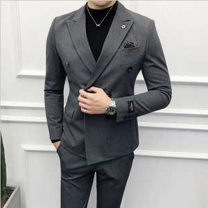 British Double-breasted Small Suits For Men Nightclub Hair Stylist Jacket Suits Set Slim Fit Business Wedding Suits With Pants