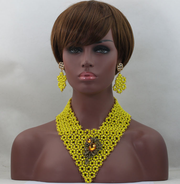 Luxury  Yellow Wholesale African Ladies Jewelry Set Hot Sale Beads African Set Charming Style Handmade  Free Shipping hx262Luxury  Yellow Wholesale African Ladies Jewelry Set Hot Sale Beads African Set Charming Style Handmade  Free Shipping hx262