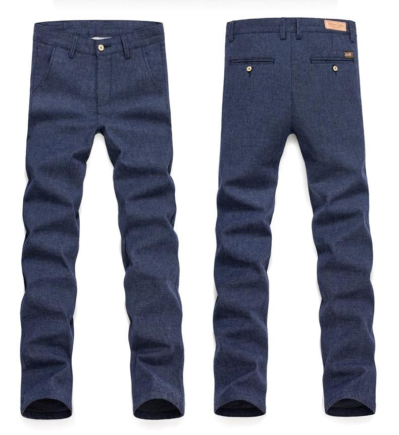 HTB1srG2Qb2pK1RjSZFsq6yNlXXak 2019 Autumn Winter New Men's Slim Casual Pants Fashion Business Stretch Thicken Trousers Male Brand Plaid Pant Black Blue