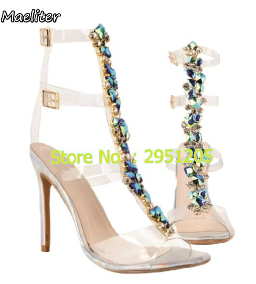 576061b648ac Latest Design Rhinestone PVC Transparent Stiletto Heels Sandals Shoes  Crystal Ankle Wrap Lady High Heels Shoes Sexy Dance Shoes