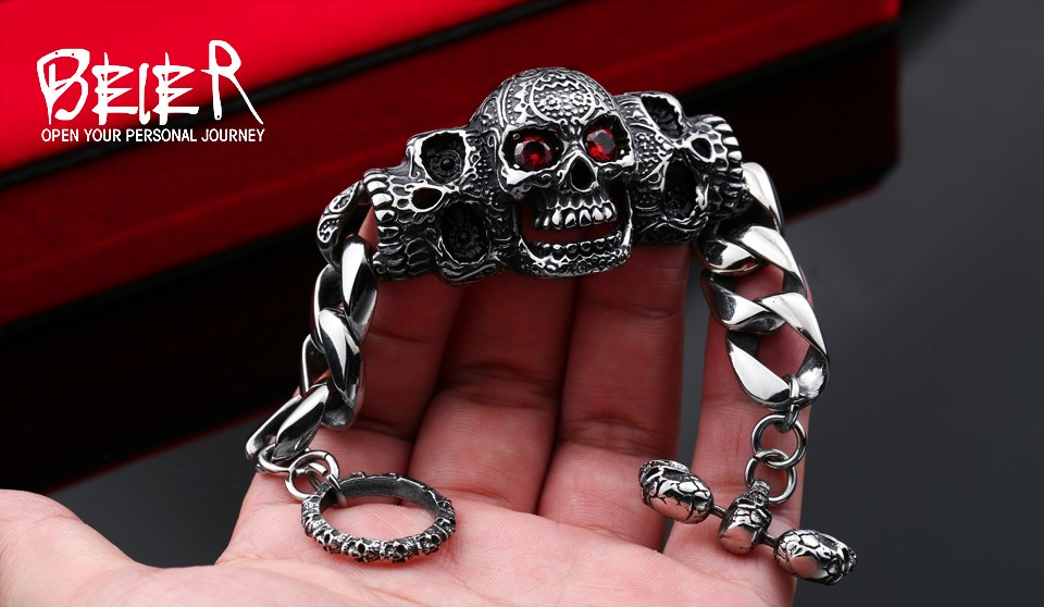 BEIER 316lStainless steelCool Men's Steel High Quality Red Eye Stone Biker Man Skull charms Bracelet Chain Factory Price BC8-021 7