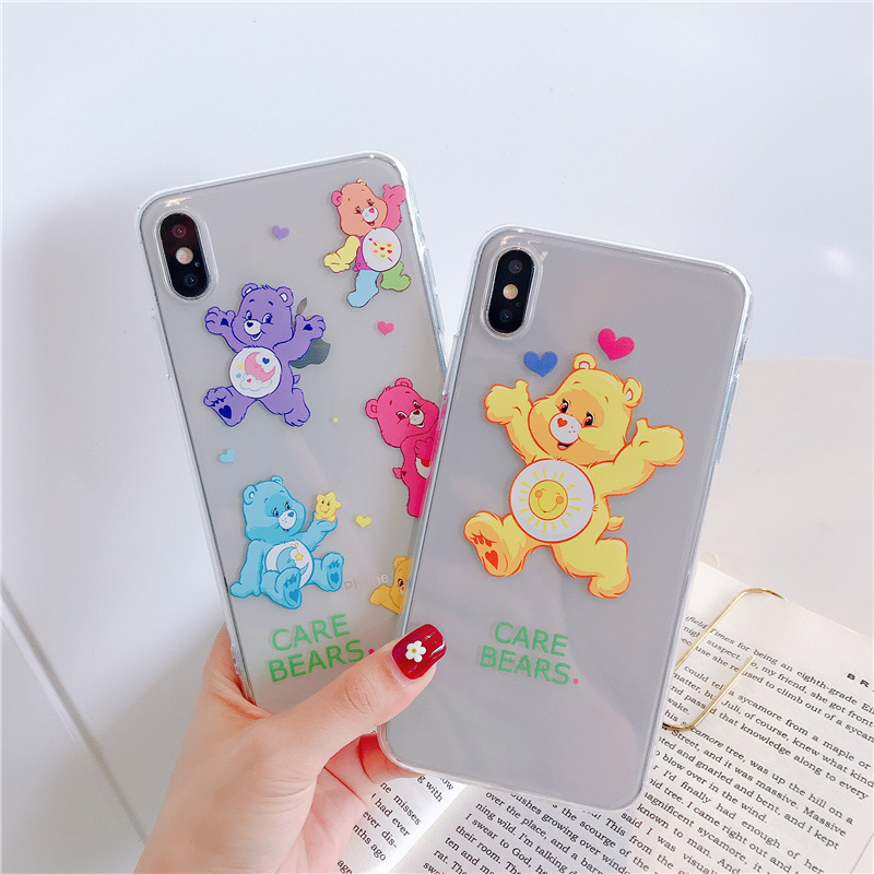 Care bears silicone case for iphone brand 7 8 6 6s plus cute candy bear soft transparent Ultra thin cover for iphone xr x xs max in Fitted Cases from Cellphones Telecommunications