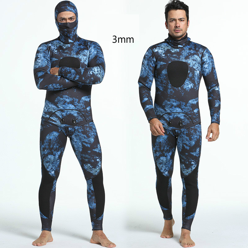 3mm Mens Camouflage Fission Two Pieces Hooded Diving Suit Thickning  Warm Waterproof Surfing Wetsuit For Male Size S-XXL3mm Mens Camouflage Fission Two Pieces Hooded Diving Suit Thickning  Warm Waterproof Surfing Wetsuit For Male Size S-XXL