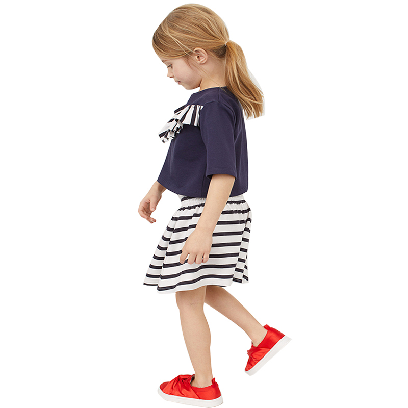 Fashion Baby Girls Tee Shirt Stripe Skirt Children Clothes Sets Navy Sailor Girl Jumper High Wasit Kilt Kids Outfits 2-7Year