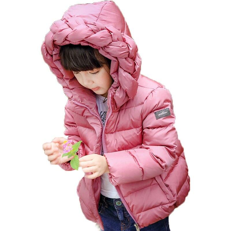 2016 Yeni Çocuk Kış Beyaz Ördek Aşağı Dış Giyim Coat Giyim kızlar Sıcak Aşağı Parkas Ceketler 1-6Y Çocuklar Escudo de aşağı W1030