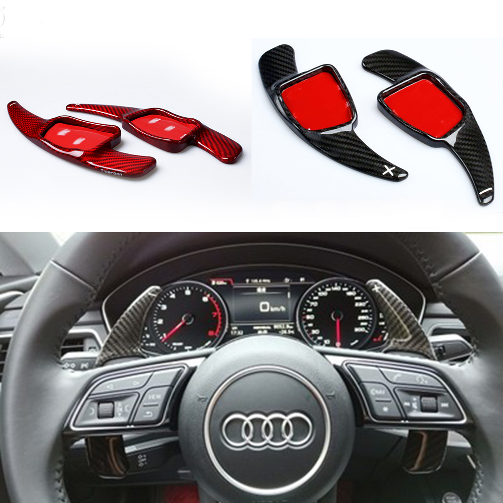 Carbon Fiber Gearbox Steering Wheel Shifter Paddle Shift Extension For New Audi A5 S5 S6 SQ5