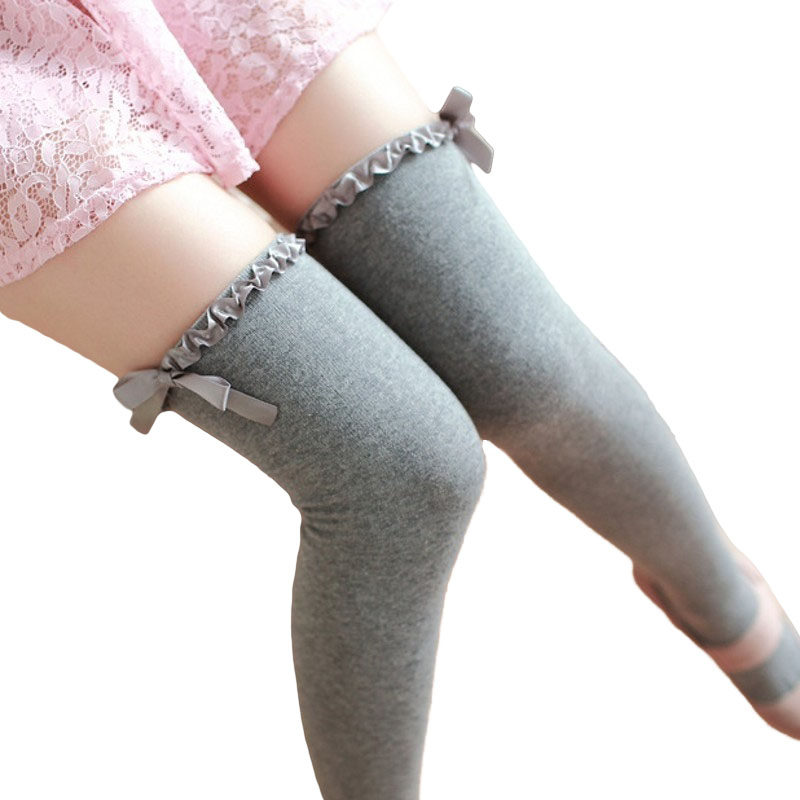 High Quality Women Cute Cotton Stockings Over Knee Socks Long For Girls Meias Overknee Warm Stocking Belt Christmas Lace Up