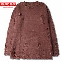 Aelfric Eden Casual Ripped Hole Men Sweaters Fashion Heren Pullover Men Streetwear Sweater Kanye West Knitwear Sweaters SNL666