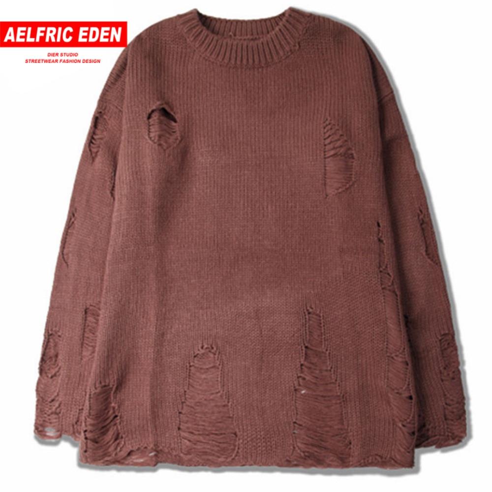 Aelfric Eden Casual Strappato Hole Uomini Maglie e Maglioni Moda Heren Pullover Da Uomo Streetwear Maglione Kanye West Maglieria Maglie e Maglioni SNL666