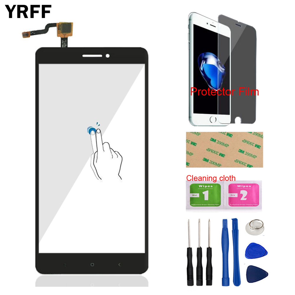 YRFF 6.44'' Mobile Phone Front Glass Touch Screen Digitizer Panel Glass Sensor For Xiaomi Mi Max Tools + Protector Film Adhesive