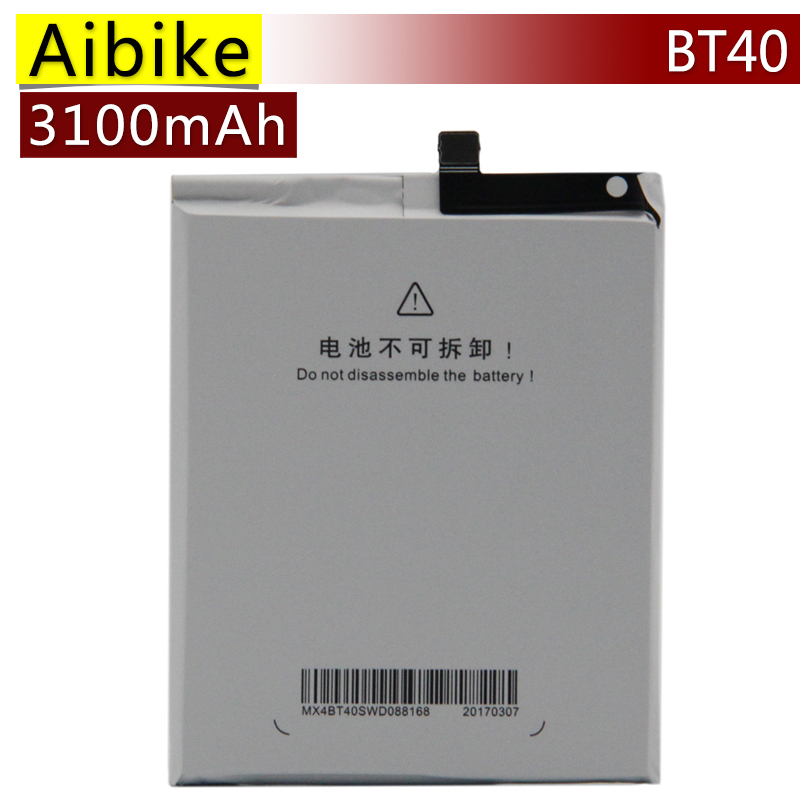 Aibike New original mobile phone battery BT40 For Meizu MX4 BT 40 MX 4 Replacement Batteries 3100mAh rechargeable Battery