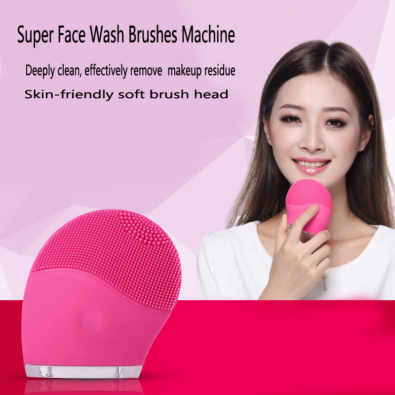 Super Face Wash Brushes Machine Soft Silicone Facial Brush Cleanser Waterproof Design Health Beauty Skin Women Vibration massage sonic cleansing brush cleanser wash your face wash your face massage instrument deep pores clean cleanser electric wash brush
