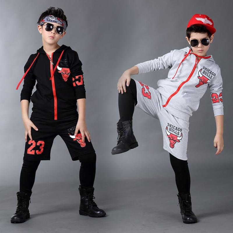 ФОТО Jazz dance boys clothes kids hip hop clothing  Kids Suit black,gray hooded Long Shirt + Pants Sweatshirt Casual Clothes