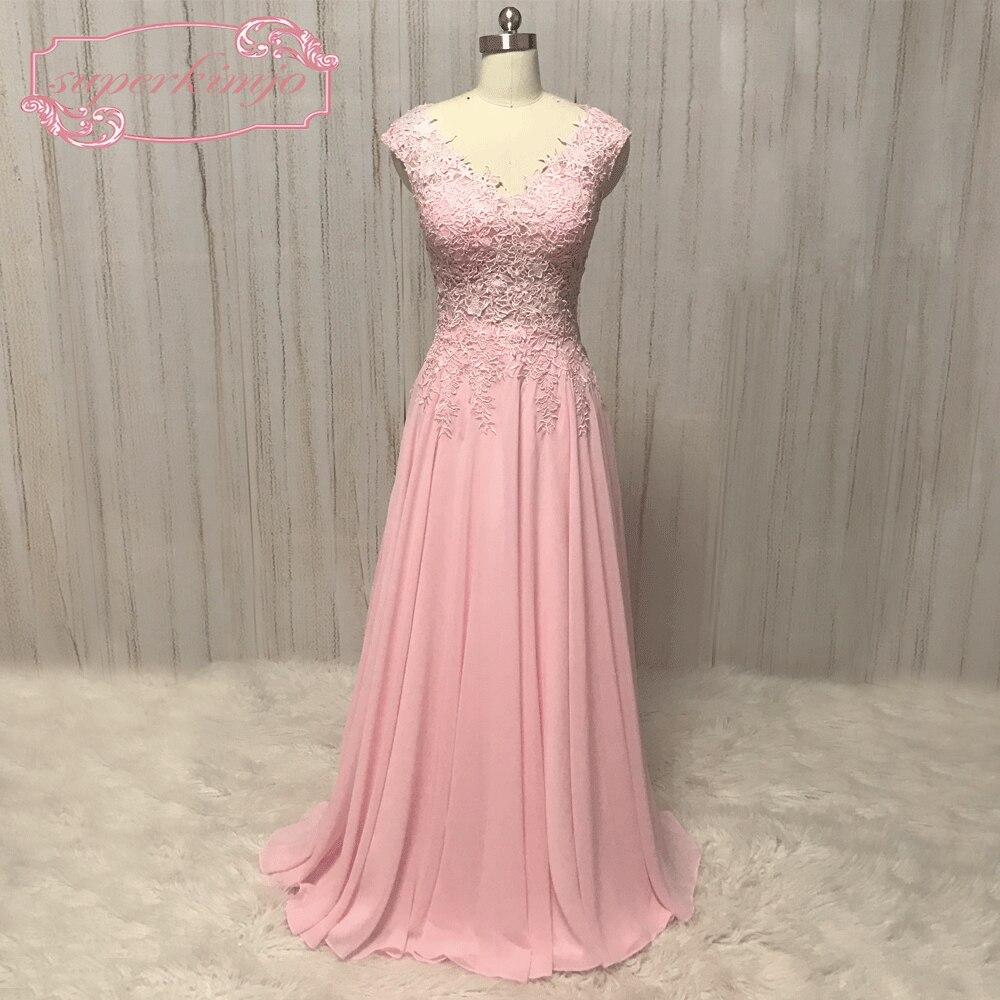 SuperKimJo 2018 платья невесты длинные Румяна Розовый Кружева Аппликация Дешевые Свадебная вечеринка платье Brautjungfernkleid