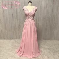 SuperKimJo 2018 Bridesmaid Dresses Long Blush Pink Lace Applique Cheap Wedding Party Dress Brautjungfernkleid