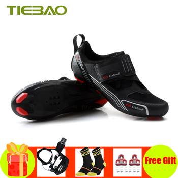 цена на Tiebao road bike shoes Triathlon 2019 women men self-locking sapatilha ciclismo bicycle riding shoes breathable cycling shoes