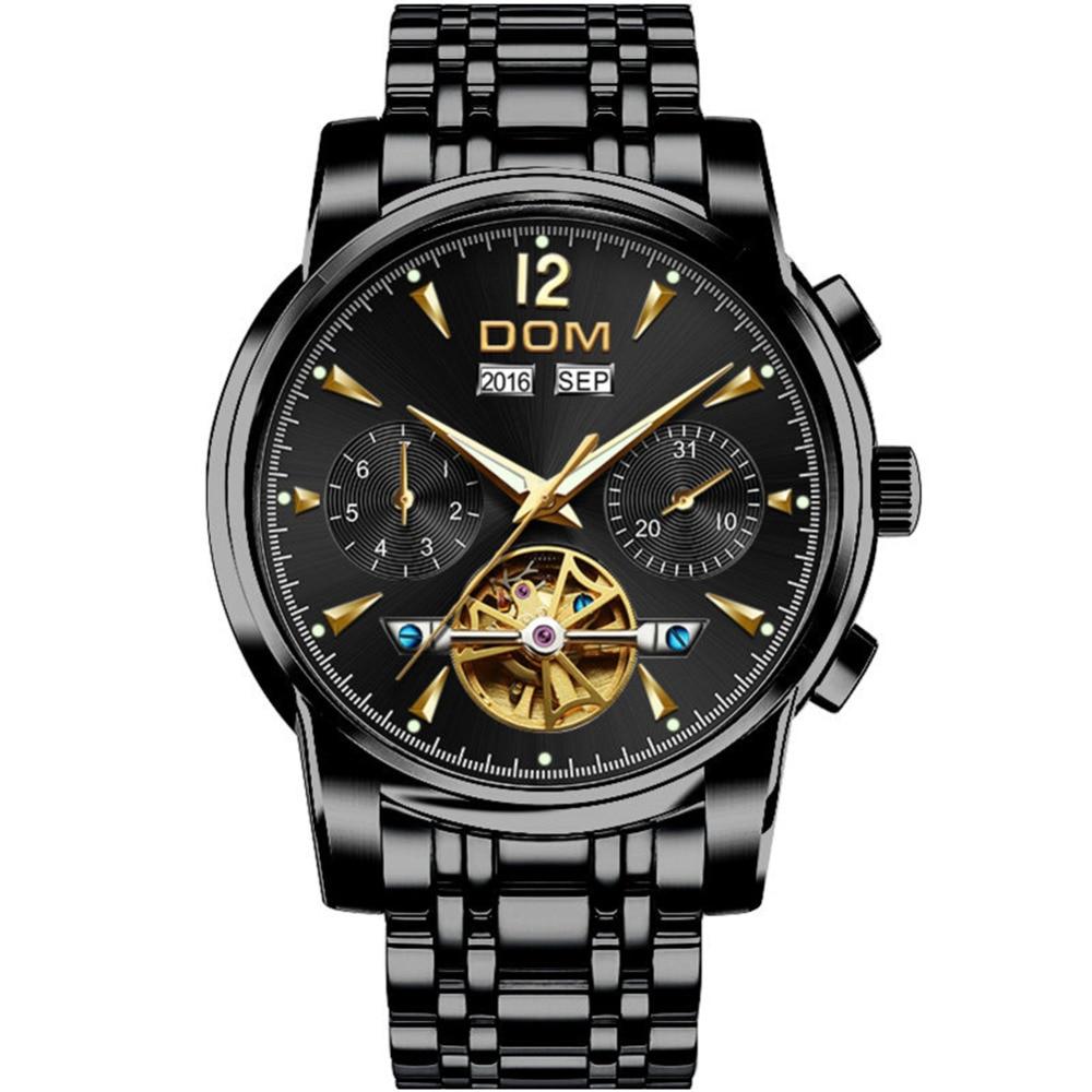 DOM Mechanical Watch Men Wrist Automatic Retro Watches Men Waterproof Black Full Steel Watch Clock Montre Homme M 75BK 1MW - 2