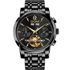 Image 2 - DOM ساعة ميكانيكية الرجال المعصم التلقائي ريترو ساعات الرجال مقاوم للماء الأسود كامل الصلب ساعة ساعة Montre أوم M 75BK 1MW