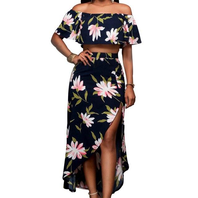20a4f6d69692 Women Floral Beach Dress Two Piece Slash Neck Ruffle Cover Off Shoulder  Crop Slit Cut Asymmetric Flowy Summer Dresses Sexy Party