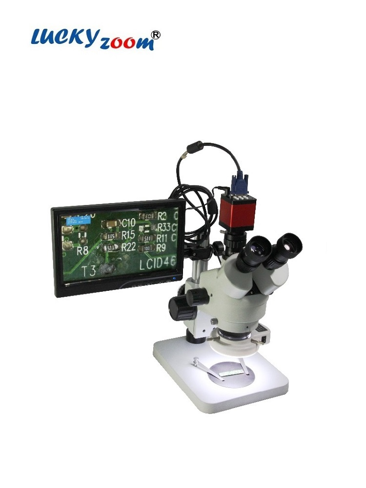 Microscope Binocular Lcd-Screen Luckyzoom Stereo HDMI 2-Size-Holder VGA