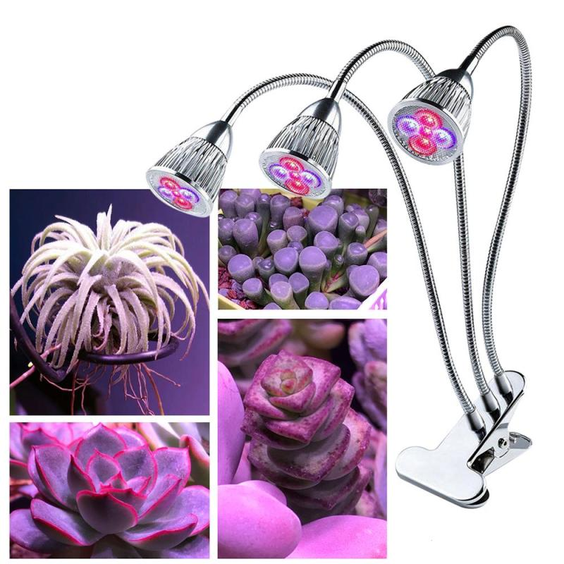 5W 360 Degree 3 Head LED Full Spectrum Grow Lights Desk Clip Plant Grow Lamp Flexible Goose-neck For Indoor Flower Plant Z35 search z35 lights page 1