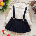 2016 new style factory direct sale baby lace flower suspenders dress for spring and aurumn baby girl clothing 2 colors