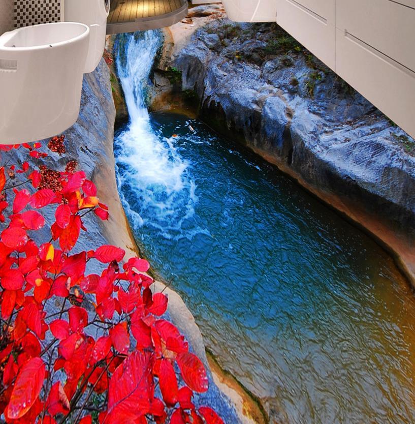 ФОТО 3D floor bathroom custom mountain streams leaves 3d floor print non-slip waterproof self adhesive plastic floor