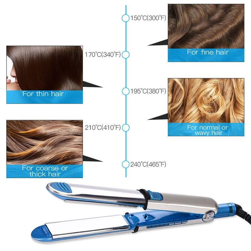 Professional Hair Straightening Irons Nano Titanium Flat Iron Ceramic Hair Iron LED Digital Display Straightener Flat Irons Wide in Straightening Irons from Home Appliances