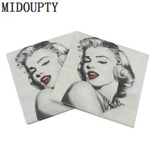 20pcs Marilyn Monroe Vintage Decoupage Food-grade napkins paper serviettes Disposable tissue Birthday Decor Wedding Party Decor(China)