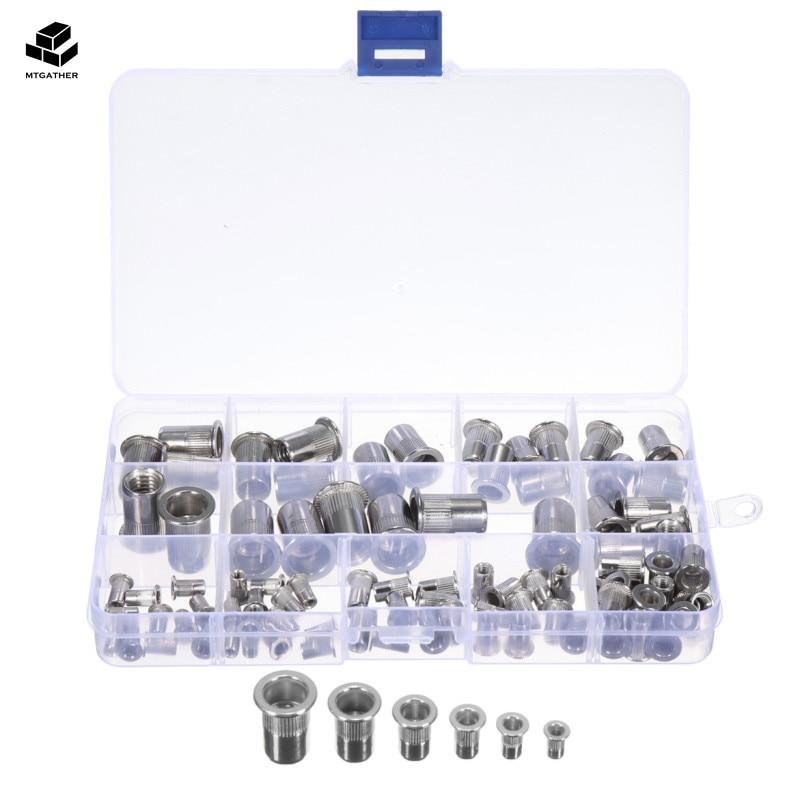 MTGATHER 93Pcs Stainless Steel Rivet Nut Kit Insert Nut Metric Thread M3/4/5/6/8/10 Flat Head Nutsert Cap Set With Box цена