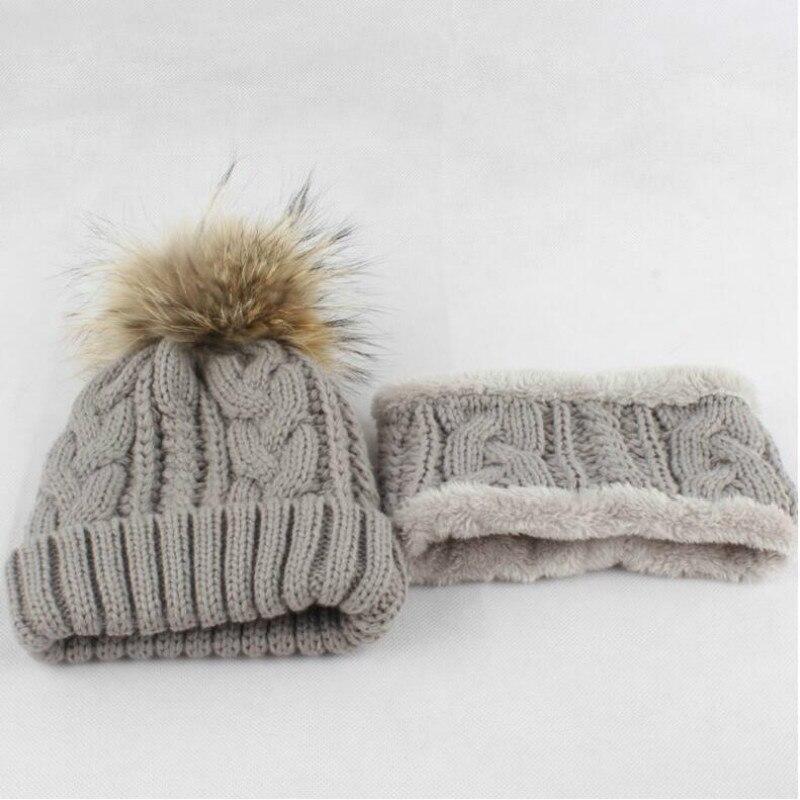 Thickened Warm Winter Hat Scarf Set For Kids Girl Boy Fleece Liner Warm Hat Cap Children Real Fur Pom Pom Hat Neck Warmer