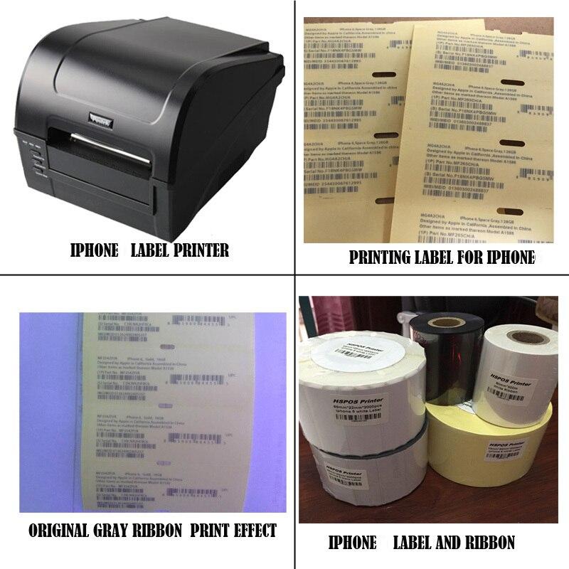 IOS Téléphone Portable IMEI étiquette autocollant imprimante impression solution avec support technique professionnel pour 5 étiquette noire et blanc ruban
