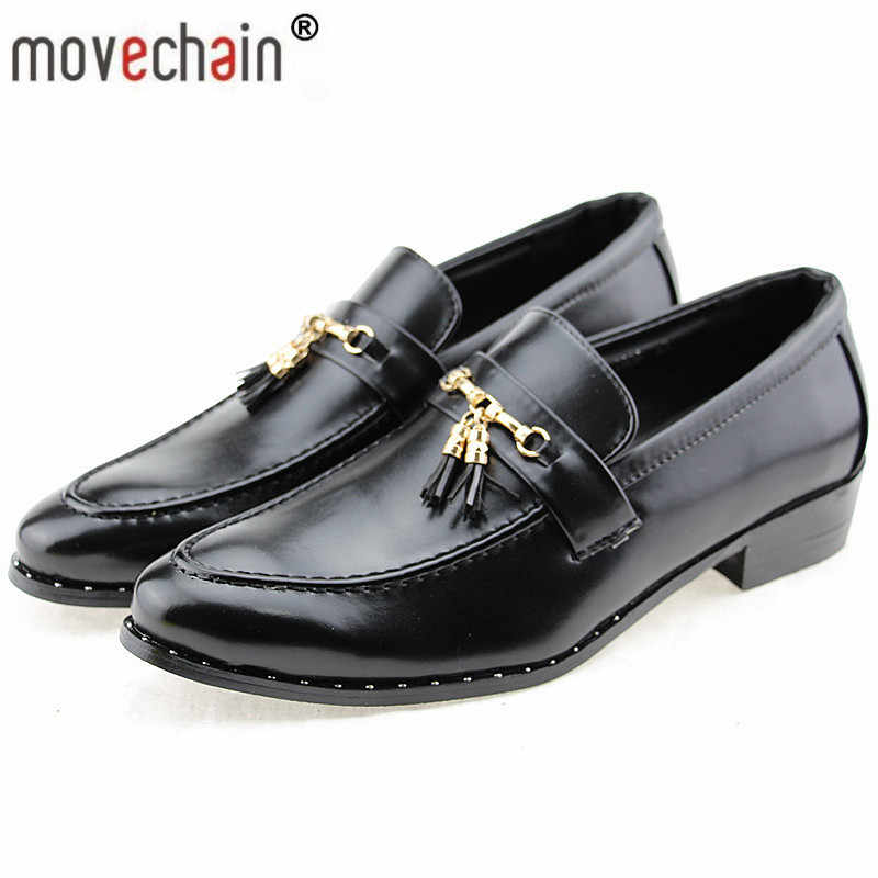 430c6f917e0 Movechain Fashion Men s Tassel Leather Slip-On Shoes Mens Casual Party  Wedding Loafers Man Driving