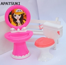 Kid s Doll House Toys Doll Accessories Plastic Wash Basin Toilet Set For Barbie Dolls For