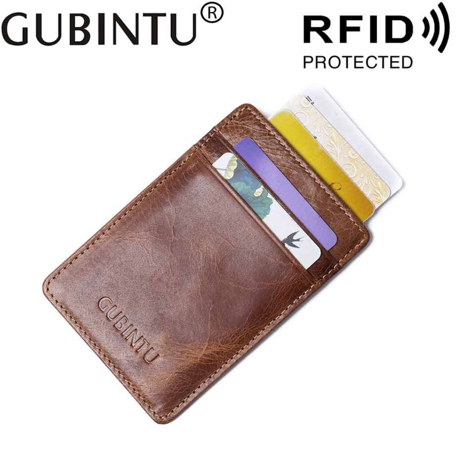 Small Bank ID Business Credit Men Card Holder Genuine Leather RFID Wallet Male Purse Protection Blocking Case For Cardholder Bag app blog women men credit id card holder case extendable business bank cards bag small wallet coin purse carteira mujer male