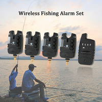 Lixada Wireless Fishing Bite Alarms Set Digital Fishing Alarm Kit LED Alarm Indicator Alert Bell Receiver with Zippered Box