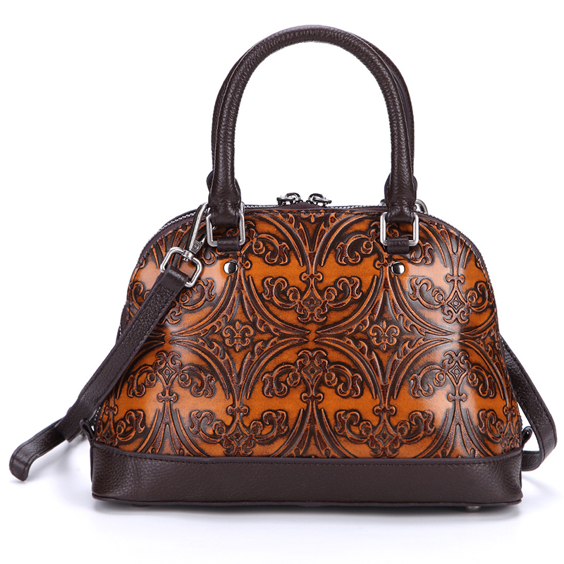 New Women Vintage Embossed Leather Handbag Messenger Pack Genuine Leather Travel Ladies Tote Bag Cross Body Sling Shoulder Bags