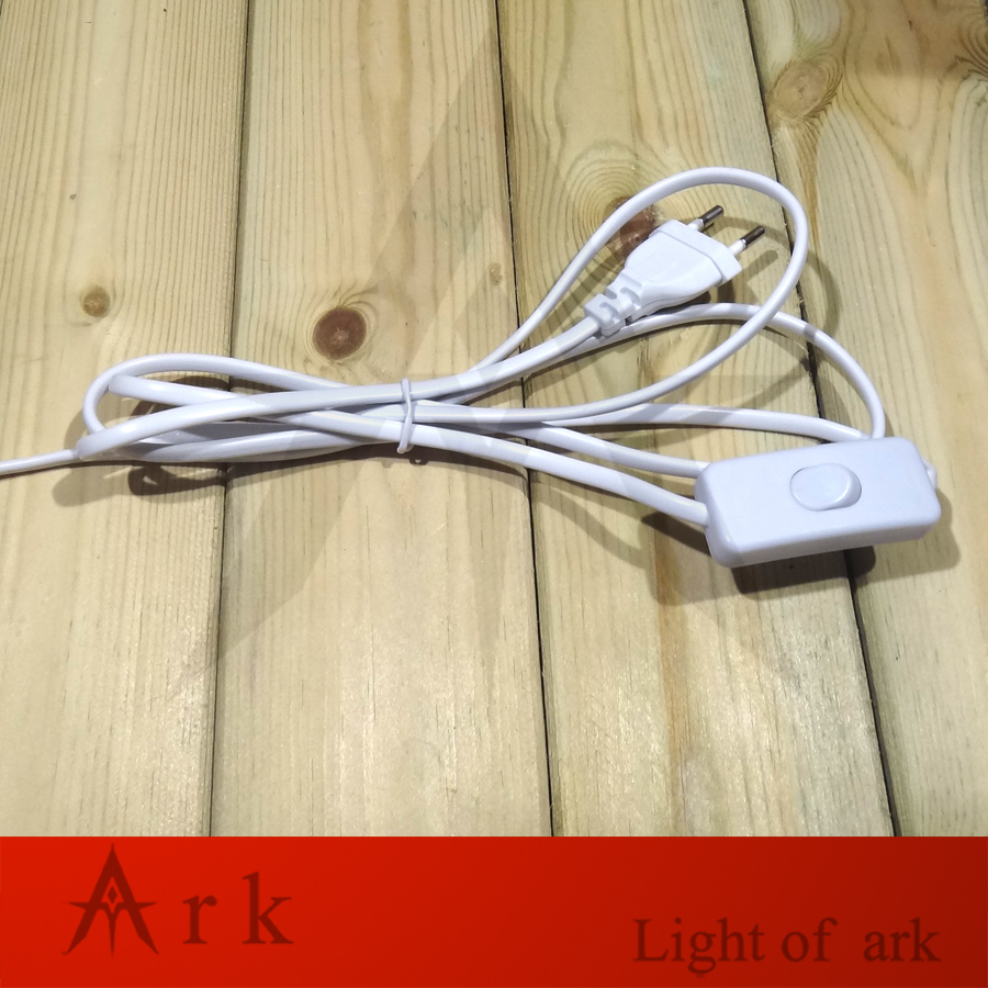 NEW Button 303 Switch With Wire AC90-250V White lamp Accessories 1.8M EU Cable 2 Round pin Plug for Table/Floor Lamp