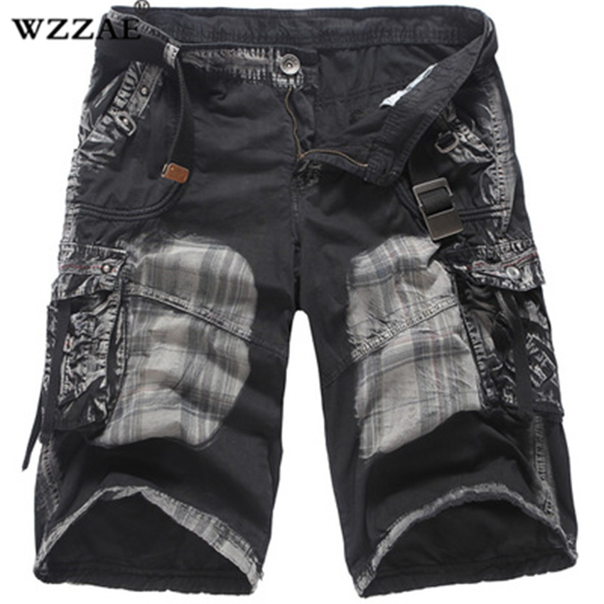 2018 Brand New Mens Military Cargo Shorts Army Camouflage Pockets Shorts Men Cotton Casual Short Print Shorts Plus Size No Belt