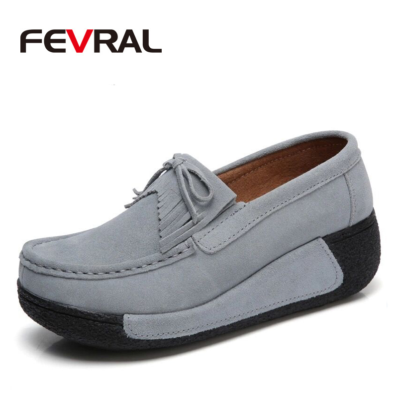 FEVRAL Brand Women Flats Shoes Moccasins Tassel Fringe Platform Shoes Leather Suede Casual Shoes Slip-On Thick Bottom Footwear