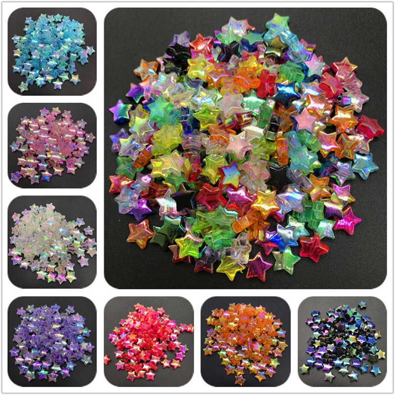 100pcs 11x4mm Acrylic Spacer Beads Five-pointed Star Transparent Rainbow Color Beads For Jewelry Making