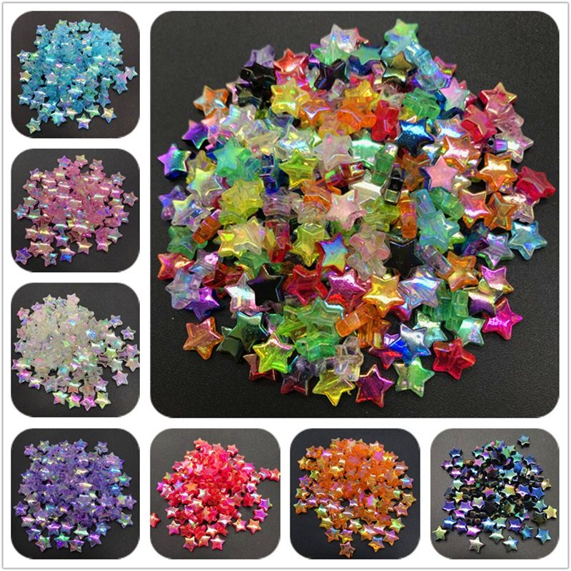 Акриловые бусины-разделители 11 х4 мм, 100 шт., пятиконечные звезды, прозрачные бусины радужного цвета для изготовления ювелирных изделий