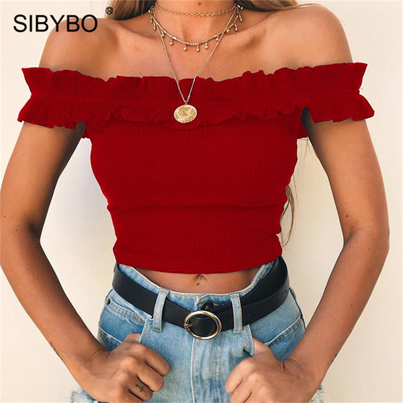 Sibybo Off Shoulder Slim Short Cotton T-shirt for Women Slash Neck Exposed Navel Summer Top Women Backless Sexy T shirt Women